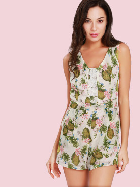 Botanical Print Sleeveless Playsuits with 3D Flowers and Pearls