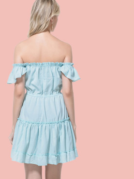 Off Shoulder Frill Trim Tiered Dress with Bow Tie Front