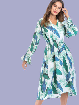 Tie Sleeve V-Neck Loose Midi Dress In Leaf Print with Frill Detail
