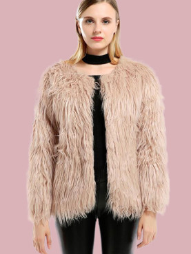Plus Size Long Sleeve Faux Fur Coat with Pockets