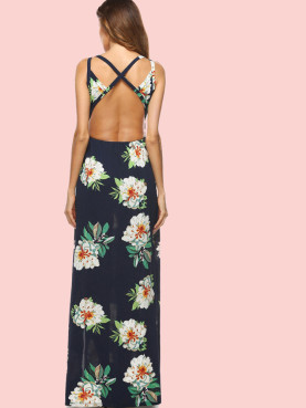 Cross Back Split Front Floral Print Maxi Dress