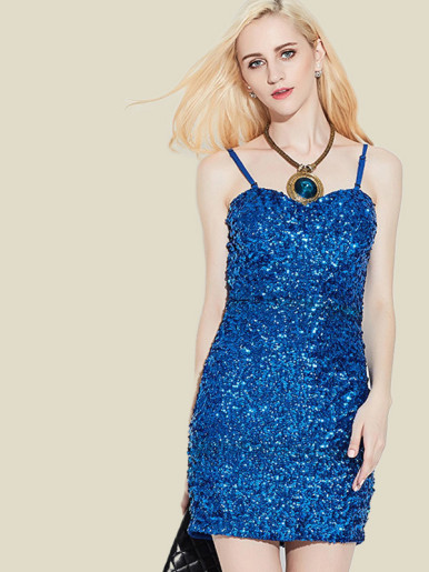 OneBling Open Back Cami Strap Sweetheart Sequins Dress