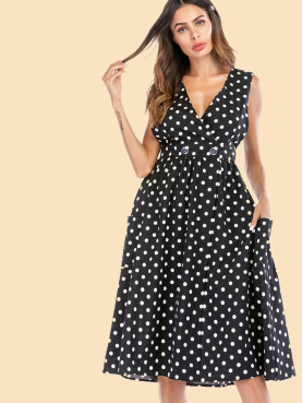 Wrap Front Polka Dot Midi Dress with Button Detail