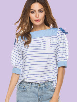 Contrast Shoulder and Cuff Puff Sleeve Striped Blouses with Ribbon Ties