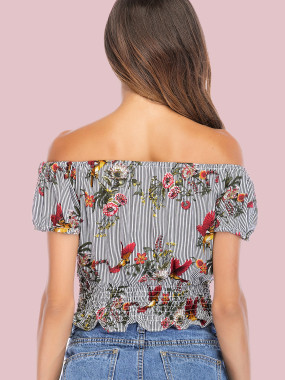 Striped and Floral Print Shirred Hem Puff Sleeve Off Shoulder Crop Tops