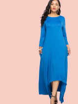 Plus Size 3/4 Sleeves Dip Hem Maxi Swing Dress
