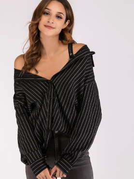 Cold Shoulder Striped Shirt with Straps Detail