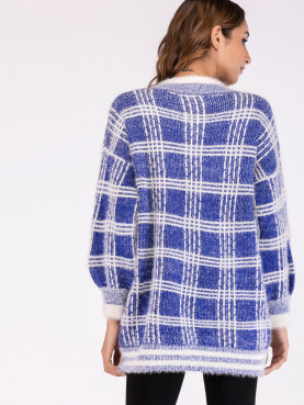 Button Front Striped Hem Fuzzy Knit Check Cardigan