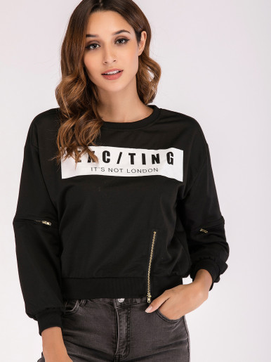 Graphic Front Cropped Sweatshirt with Zippers Detail