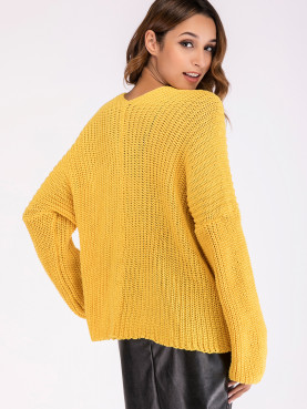 Ballon Sleeve Dropped Shoulder Button Front Knit Cardigan