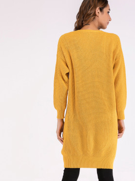 Dropped Shoulder Long Sleeve Longline Cardigan In Yellow
