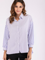 OneBling Dropped Shoulder Contrast Sleeve Pinstripe High Low Shirt