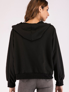 Check Taped Detail Zip Through Hoodies