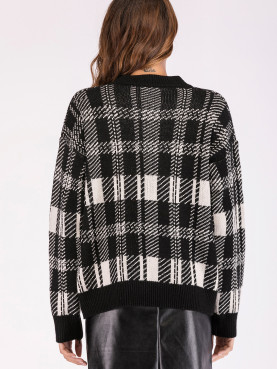 Dropped Shoulder Contrast Trim Knit Jumper In Check