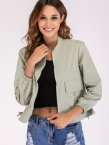 Patch Pockets Zip-Front Jacket with Tie Detail