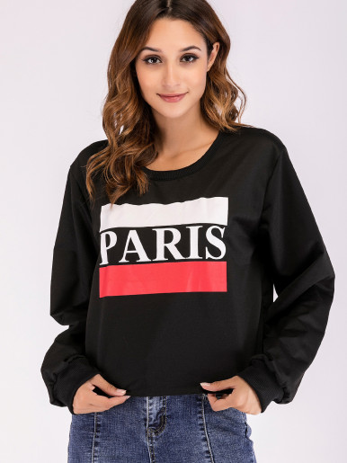 Graphic Front Raw Hem Loose Sweatshirt