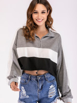 Drawstring Hem Colour Block Half Zip Sweatshirt with Taped