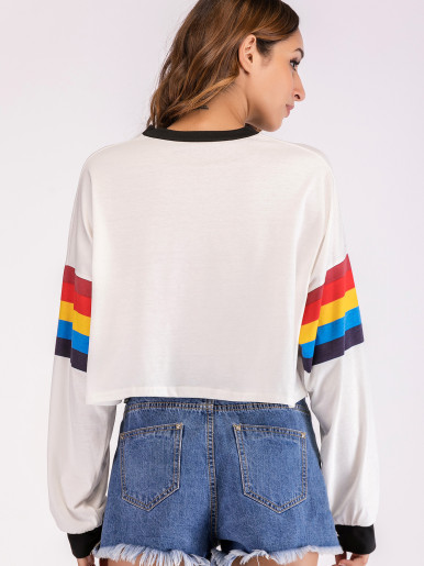 I DIG YOU Striped Sleeve Contrast Trim Cropped Sweatshirt