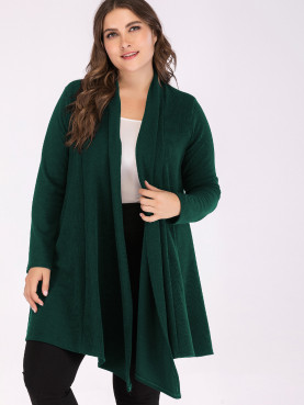 Plus Size Long Sleeve Shawl Collar Rib Knit Cardigan