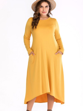 Plus Size Dip Hem Long Sleeve Maxi Dress with Pockets