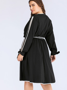 Plus Size Split Tied Sleeve Contrast Binding Wrap Dress with Self Belted