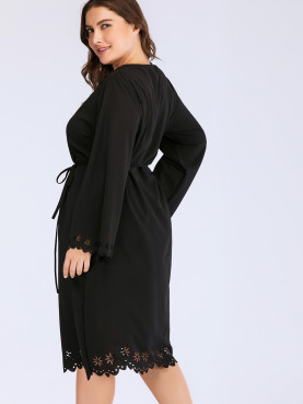 Plus Size Laser Cut Detail Scalloped Trim Midi Dress