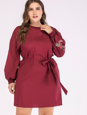 Plus Size Embroidery Ballon Sleeve Dropped Shoulder Mini Dress