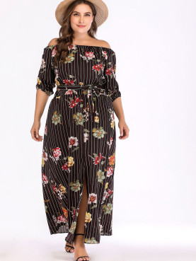 Plus Size Striped and Floral Print Off Shoulder Maxi Dress