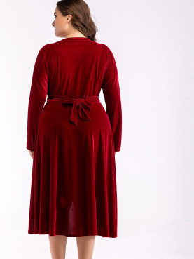 Plus Size Ruched Detail Long Sleeve Velour Wrap Dress