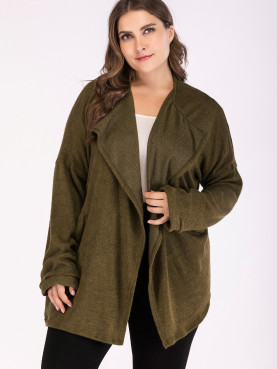 Plus Size Dropped Shoulder Draped Collar Knit Cardigan