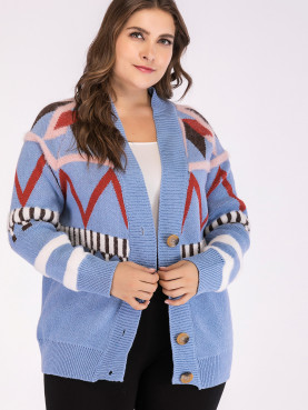 Plus Size Geometric Pattern Button Front Knit Cardigan with Fluffy Detail