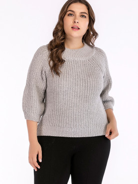 O-Neck Jumper with 3/4 Length Sleeve