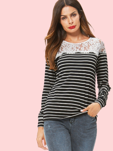 OneBling Eyelash Lace Shoulder Striped T-Shirt