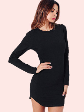 Open Back Chain Detail Curved Hem Long Sleeve Bodycon Dress