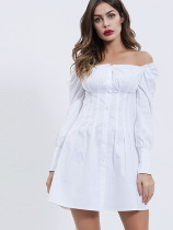 Puff Sleeve Folded Off Shoulder Mini Dress