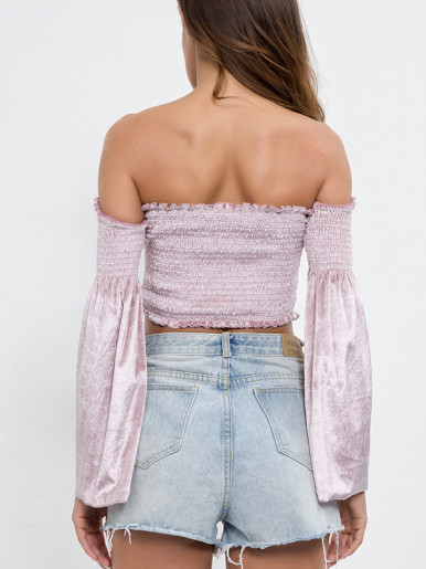Frill Trim Shirred Off Shoulder Crop Tops with Flare Sleeve