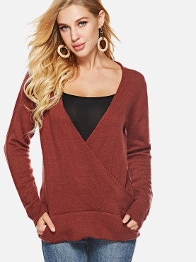 Wrap Front Knit Jumper with Pocket Detail