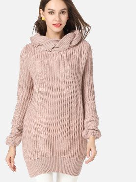 Chunky Knit Long Jumper with Contrast Collar and Cuff
