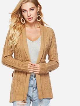 Shawl Collar Cable Knit Cardigan with Belt and Raglan Sleeve