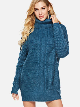 Roll Neck Chunky Knit Jumper with Shoulder Detail
