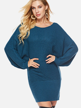 Boat Neck Batwing Sleeve Knit Jumper