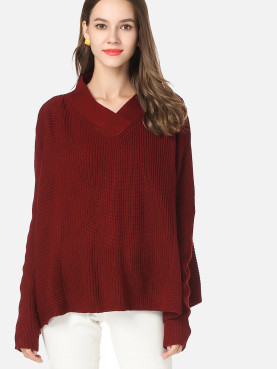 Textured Knitted Jumper with Wrap Detail