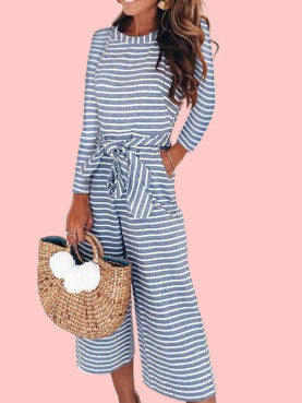 Long Sleeve Wide Leg Cropped Jumpsuit