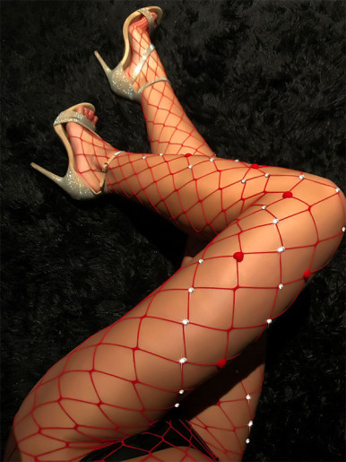 Red Fishnet Tights with Embellishment