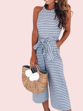 Sleeveless Striped Cropped Jumpsuit with Wide Leg
