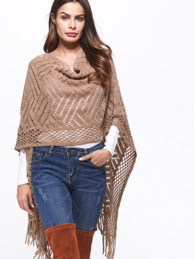 Open Knit Poncho Cape with Tassels Hem