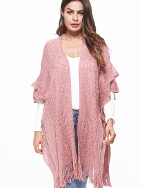 Cable Knit Poncho Cape with Double Layer and Tassels Hem