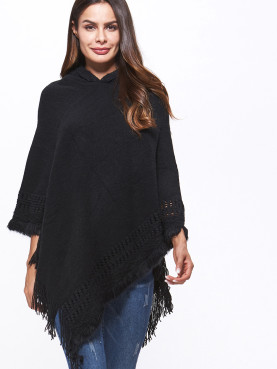 Cable Knit Tassels Trim Hooded Poncho Cape