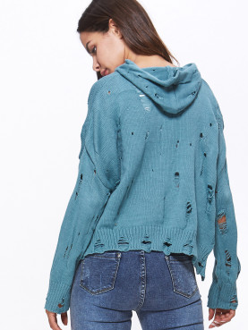 Distressed Jumper with Hooded