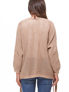 Cable Knit Cardigan with Rabbion Detail